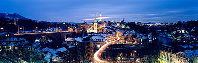Rooftop Photograph - Night Bern Switzerland by Panoramic Images