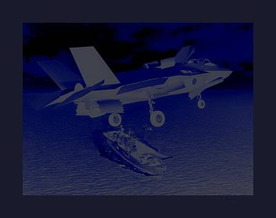 F 35 Strike Fighter Night Assault Carrier Landings Combat Conditions Us Marine Corps Print by L Brown