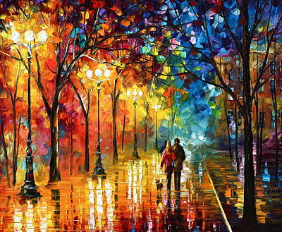 Park Oil Painting - Night Fantasy by Leonid Afremov