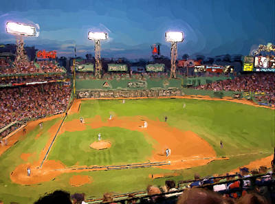 Fenway Park Painting - Night Fenway Pop by John Farr