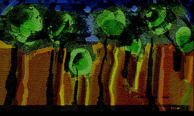 Night Forest Tapestry Print by Lenore Senior