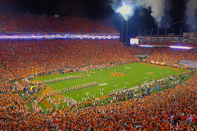 Turf Photograph - Night Game At Clemson Memorial Stadium by Mountain Dreams