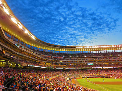 Minnesota Twins Photograph - Night Game At Target Field by Heidi Hermes