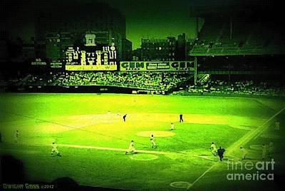 Yankee Stadium Painting - Night Game At Yankee Stadium by Dwight Goss