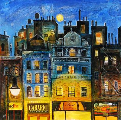 Financial Mixed Media - Night In New York by Mikhail Zarovny