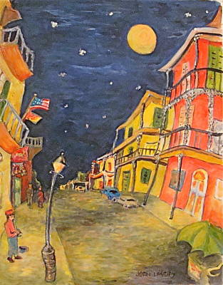 Night Lamp Painting - Night In The French Quarter by Joan Landry