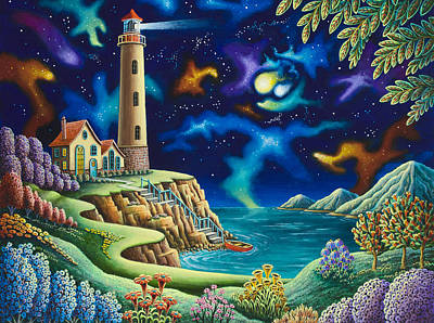 Surreal Painting - Night Lights by Andy Russell
