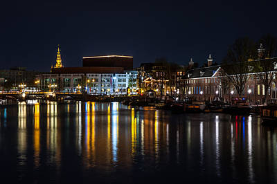 Night Lights On The Amsterdam Canals 6. Holland Print by Jenny Rainbow