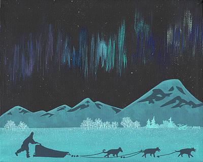 Arctic Dog Painting - Night Mushing by Lance Bifoss