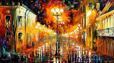 Night Mystery - Palette Knife Oil Painting On Canvas By Leonid Afremov Original by Leonid Afremov