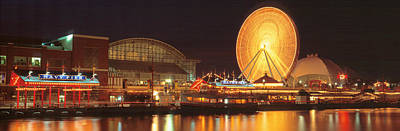 Night Navy Pier Chicago Il Usa Print by Panoramic Images