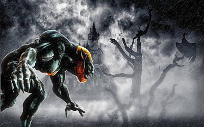Fog Digital Art - Night Of The Lycan by Bob Orsillo