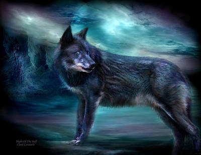 Art In Nature Mixed Media - Night Of The Wolf by Carol Cavalaris