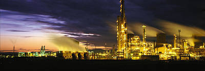 Discharge Photograph - Night Oil Refinery by Panoramic Images