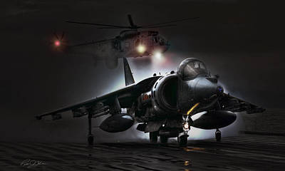 Royal Navy Digital Art - Night Ops by Peter Chilelli