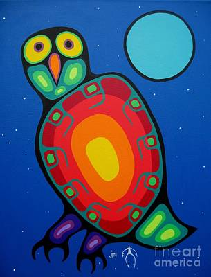 Colorful Owl Painting - Night Owl by Jim Oskineegish