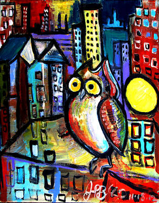Painting - Night Owl  by Jon Baldwin  Art