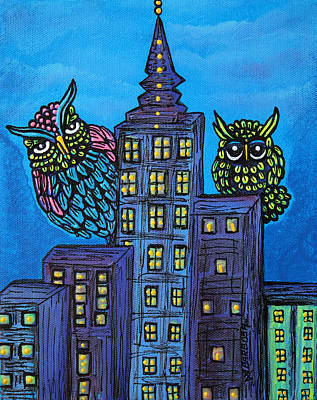 Cute Painting - Night Owls by Laura Barbosa