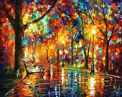 Night Park - Palette Knlfe Oil Painting On Canvas By Leonid Afremov Original by Leonid Afremov