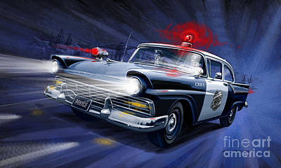 Patrol Car Painting - Night Patrol by Sean Svendsen