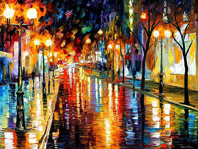 Night Perspective - Palette Knife Oil Painting On Canvas By Leonid Afremov Original by Leonid Afremov