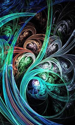 Green Digital Art - Night Phoenix by Anastasiya Malakhova