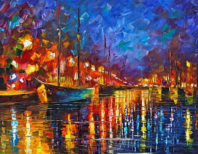 Yacht Painting - Night Port by Leonid Afremov