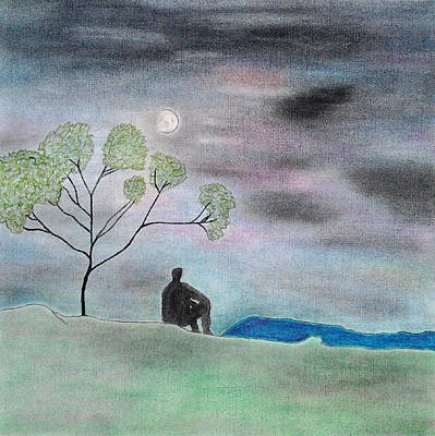 Collagraph Painting - Night by Soft Pastel Paintings
