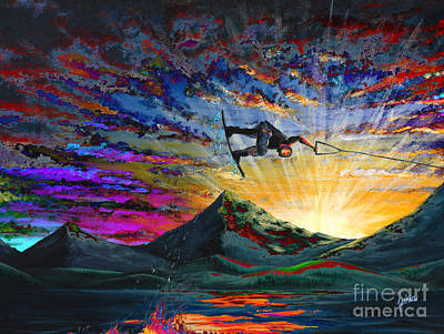 Action Sports Art Painting - Night Ride by Teshia Art
