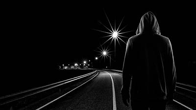 Hoodie Photograph - Night Road by Patrick Foto