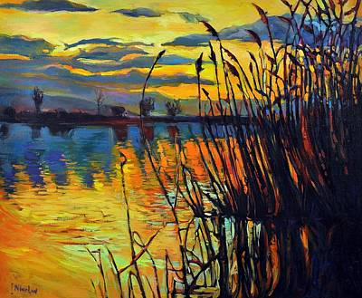 Oil Paint Mixed Media - Night Scenery by Ivailo Nikolov