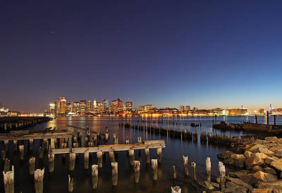 Custom House Tower Print featuring the photograph Night Sky Hunter Orion Over Boston  by Juergen Roth