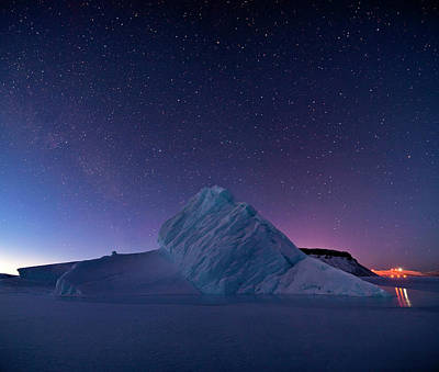 Night Sky Over Iceberg Print by Nasa
