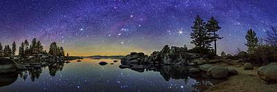 Sand Harbor Photograph - Night Sky Over Lake Tahoe by Walter Pacholka, Astropics
