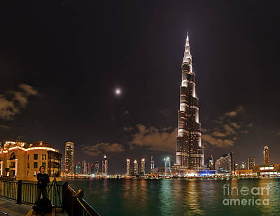 Night Skyline, Dubai, Uae Print by Babak Tafreshi