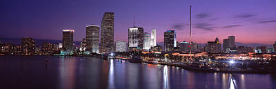Miami Skyline Photograph - Night Skyline Miami Fl Usa by Panoramic Images