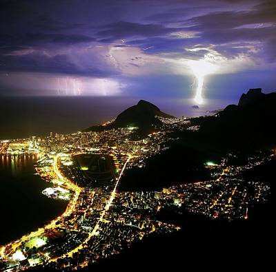 Night Storm Off Rio De Janeiro Print by Babak Tafreshi