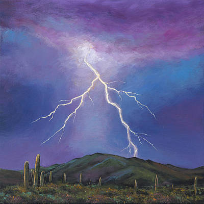 Saguaro Cactus Painting - Night Strike by Johnathan Harris