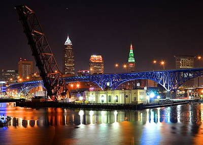 Night Time In Cleveland Print by Frozen in Time Fine Art Photography