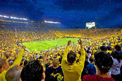 University Of Michigan Painting - Night Time Is The Right Time by John Farr