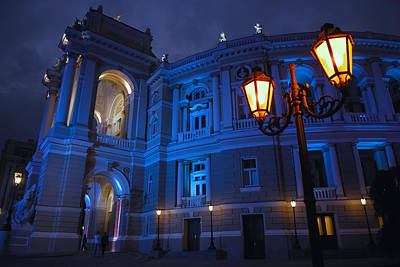 Ukrainian Baroque Photograph - Night Time Photo Of The Odessa Opera House And Theatre by Jason Row
