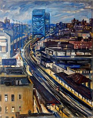 Urban Subway Painting - Night Tracks New York Nocturne Broadway Bridge by Thor Wickstrom