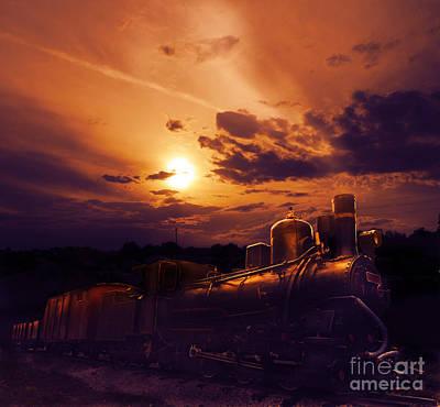Locomotive Wheels Pyrography - Night Train by Jelena Jovanovic