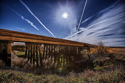 Jet Star Photograph - Night Train Lane by Thomas Zimmerman