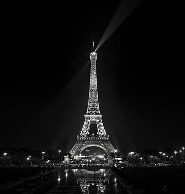Night View Over The Eiffel Tower Print by Antonio Jorge Nunes
