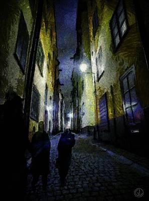 Stockholm Digital Art - Night Wanderers by Gun Legler