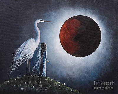 Night With The Great Egret By Shawna Erback Print by Shawna Erback