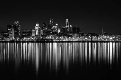 Philadelphia Skyline Photograph - Nightfall In Philly B/w by Jennifer Ancker