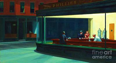 Hopper Painting - Nighthawks by Pg Reproductions