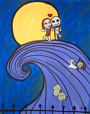 Cemetary Painting - Nightmare Before Christmas Hill Cute by Marisela Mungia